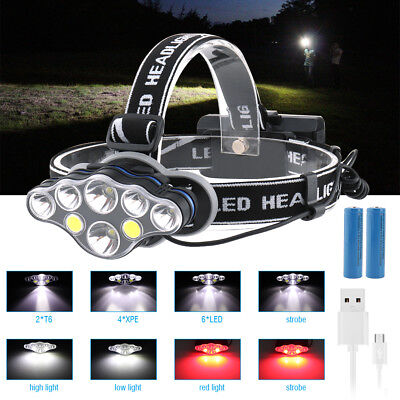 90000LM LED Headlamp USB Rechargeable Head Light Flash Lamp Torch XML T6 COB XPE
