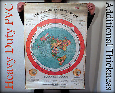HEAVY DUTY FLAT EARTH PVC POSTER: Gleasons New Standard Map Of The World 1892