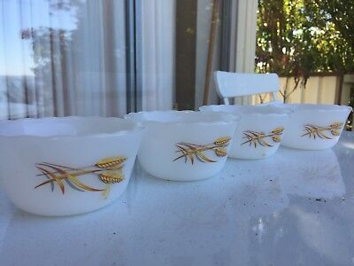 Vintage Fire King Dessert Bowls With Wheat Print