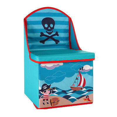Blue Pirate Design Childrens Chest Container Top Lid Kids Chair Seat Storage Box