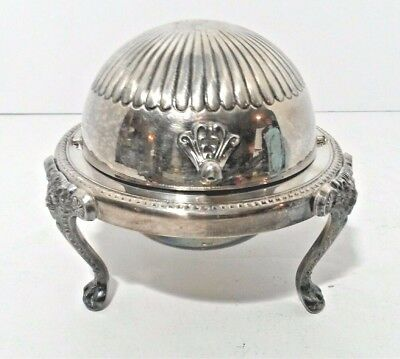 FB Rogers Silver Company Silverplate Roll Top Lion Footed With Glass Butter Dish