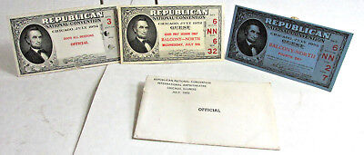 3  1952 Republican National Convention Tickets & Envelope, 3 diff, Abe Lincoln