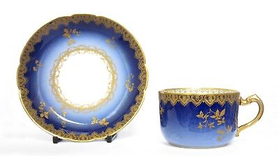 Antique David Haviland Limoges Cobalt Blue Porcelain Cup & Saucer, Lace Gilding