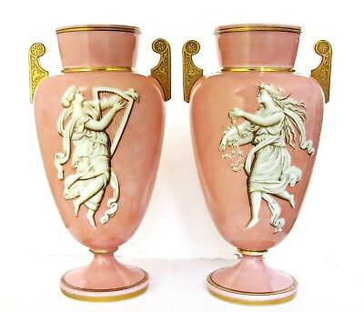 Large Pair Finest Antique French  Opaline Glass Vases Gilt Handles Painted