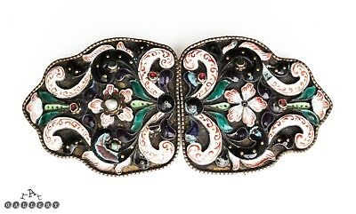 Antique Austro Hungarian Gemset & Enamel Silver Belt Buckle