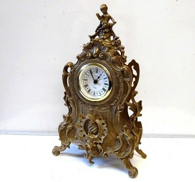Vintage Uranio Large Baroque Style Brass Mantel Quartz Mantel Clock Germany