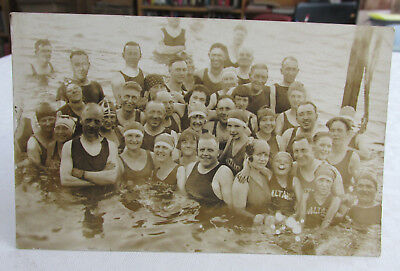 1924 RPPC Real Photo Postcard of Swimmers SALT AIR BEACH UTAH, season of 1924