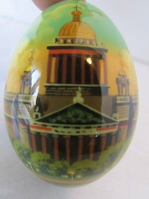 Russian St. Petersburg Hand Painted Laquered Egg Ornament St. Isaac's Cathedral