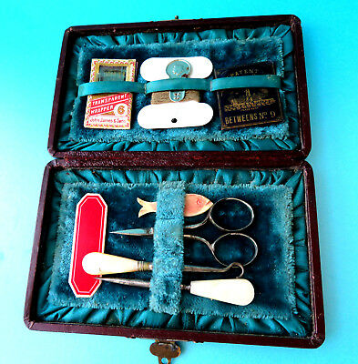 Antique Sew Kit Pearl Handle  Crochet, Button Hook Scissors,.needles Winders,