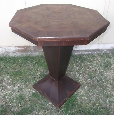 Vintage Art Deco OCTAGONAL Pedestal Table Side, Occasional, Lamp or Card Table