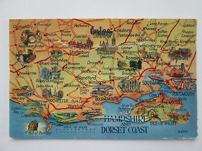 Old Postcard - Map Of Hampshire & Dorset Coast . Novelty , Pull Out .