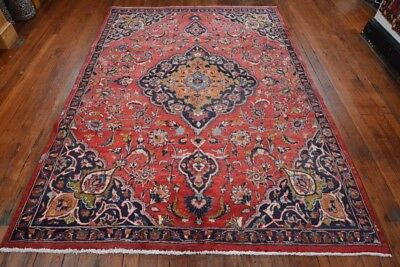 Vintage Classic Persian Floral Design Rug, 6'x9', Red/Blue, All wool pile