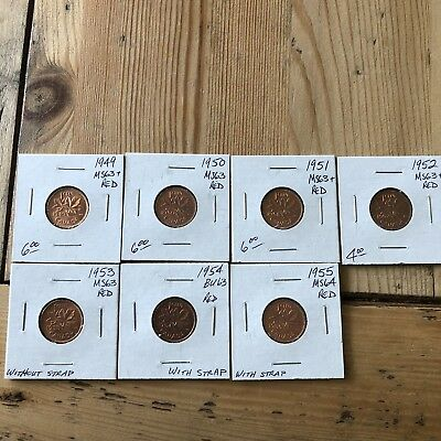 7 Set canadian small cents lot