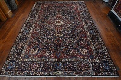 Vintage Classic Persian Floral Design Rug, 7'x10', Blue/Blue, All wool pile