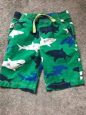 Boys Boden Shark Shorts Age 6 - 7 Years Green And Blue
