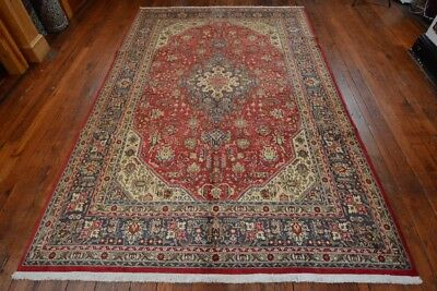 Vintage Persian Floral Geometric design Rug, 7'x10', Red/Blue, All wool pile