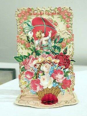 Cupid lifting a Huge Heart. Flowers Galore.  3-dimensional fold-down. Germany