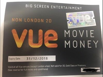 2x Vue Cinema Ticket. ANYDAY AND TIME. Expiry 31st December 2018.