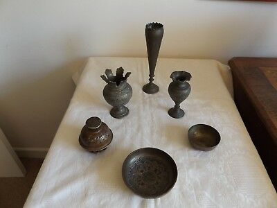 Collection Of 6  Antique Asian / Oriental Vases / Bowls Brass Incl. Tibetan Bell