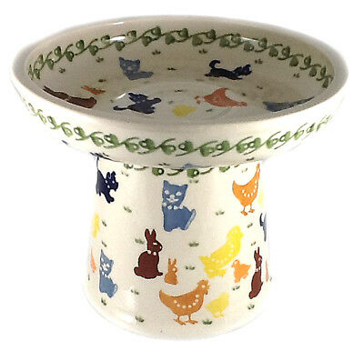 Cat Small Dog Raised Wet Food Dish in Polish Pottery-On the Farm Chickens Ducks