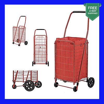Shopping Cart Basket Grocery Laundry Travel Folding With Wheel Red