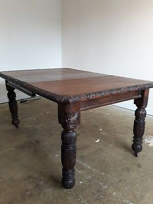 Antique Victorian Solid Oak Hand Carved Extending Dining Table