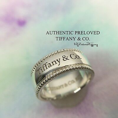 0bee030a7 Excellent Authentic Tiffany & Co Beaded Edge Tiffany Yours Logo Ring Silver  #6.5