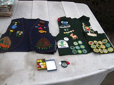 2 Girl Scout and Daisy vest with many pins and patches 70's-80's Sierra Cascade
