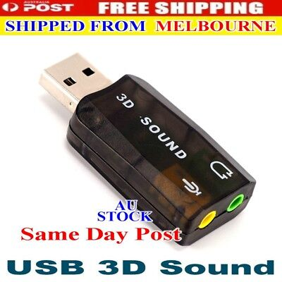 3D Audio Card USB 2.0 Mic/Speaker Adapter Surround Sound Card 5.1 CH for Laptop