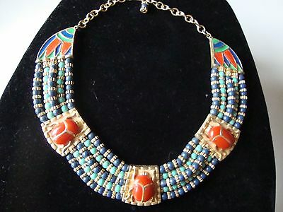 Vintage Hattie Carnegie Egyptian Scarab Choker Necklace Enamel Beaded Rare