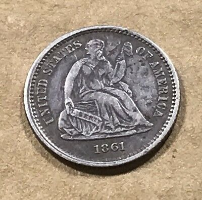1861 Liberty Seated Half Dime - H10¢ - VF Very Fine Detail - Bent - Straightened
