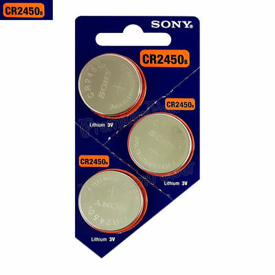 3 x Super Fresh New Sony CR2450 ECR 2450 3v LITHIUM Coin Cell Battery Exp. 2028