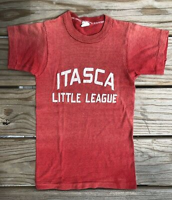 Vintage 50s 60s Kids Russell Southern Itasca Little League T Shirt Best Fade