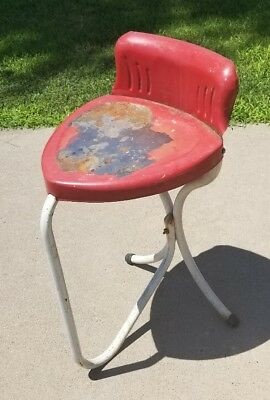 Vintage 1940s 1950s Metal Heart Shaped Chair Antique Old Stool Needs Redone RARE