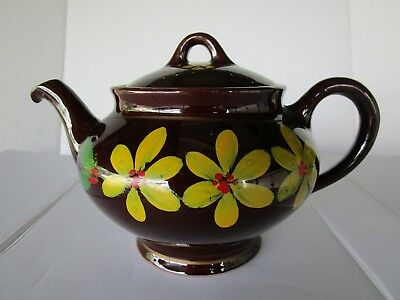 Redware tea pot Vintage Hand Painted Yellow Daisies Royal Canadian Art Pottery