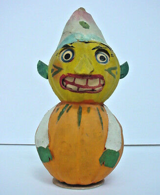 Antique Paper Mache Halloween Goblin Lantern / Candy Container Germany