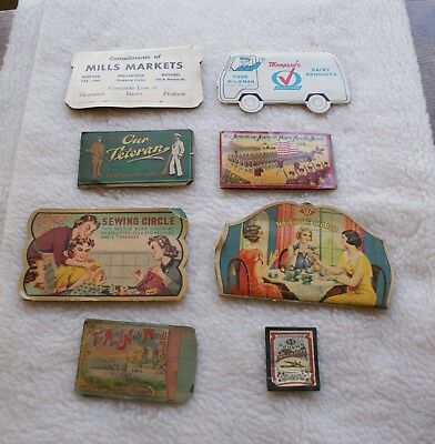 8 Vintage Incomplete Sewing Needle Kits, Military, Advertising, Sewing Circle