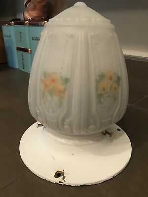 Vintage Art Deco Frosted Glass Floral Ceiling Light Cover Globe Shade Fixture