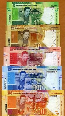 SET South Africa 10;20;50;100;200 rand, 2018 P-New UNC > Commemorative 100 years