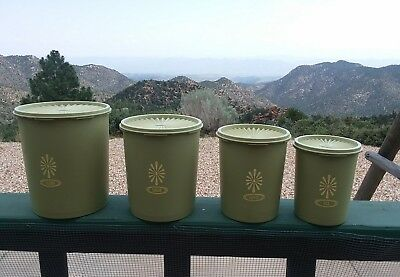 Vintage Tupperware Avocado Olive Green Set Of 4 Servalier Canisters with Lids