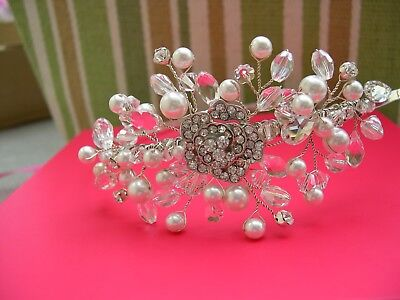 Bridal tiara on the side diamante, crystals and pearls very pretty hand made