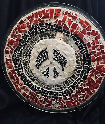 Mosaic Peace Sign Tray - Red White & Black
