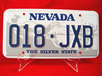 """NEVADA LICENSE PLATE The Silver State """"018-JXB"""" Mint Condition From 1986"""