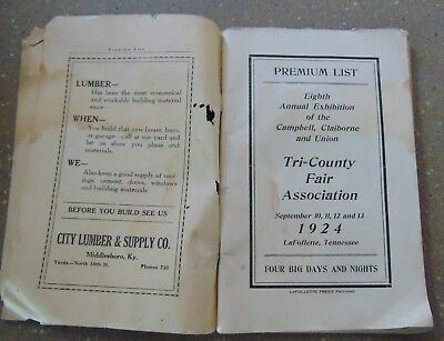 ANTIQUE TRI-COUNTY FAIR ASSOCIATION FAIR GUIDE LAFOLLETTE, TENN. w/ADVERTISING