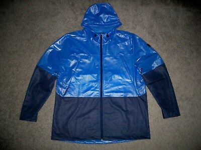 Mens NWOT UNDER ARMOUR Cold Gear FITTED Hoodie Jacket L BLUE BLOCK w/Black UA