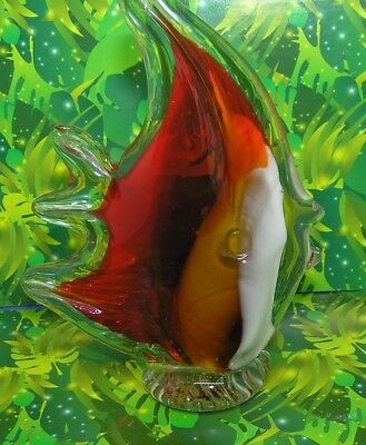 Clear/ Red / White Fish Aquatic Figurine Glass Paperweight Collectible