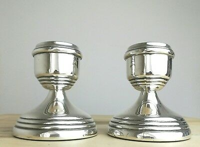 Vintage Solid Sterling Silver Candlesticks by Sanders & Mackenzie 1974 weighted