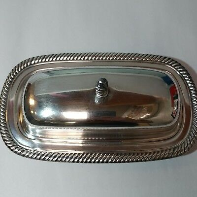Large Silver Plated Wm Rogers Butter Dish and Cover, 887