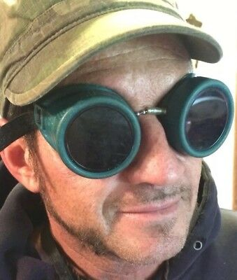 Steampunk industrial welder aviator motorcycle goggles Mad Max Shades Glasses