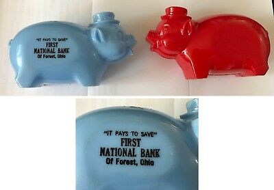 Vintage lot of 2 plastic Piggy Banks First Nat'l Bank FOREST OHIO and Plain Bank